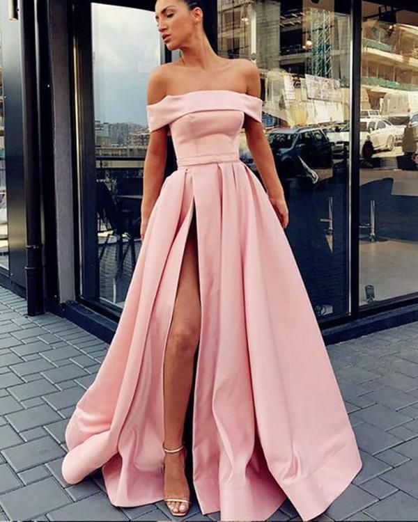 7d9111e3e5 Satin Off The Shoulder Prom Dresses Split Side Simple Evening Dresses for  Women