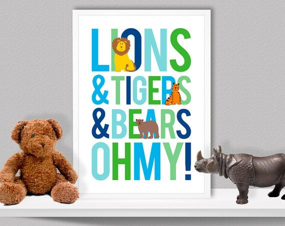 Lions And Tigers And Bears Oh My Digital Giclee Print Wall Art Home Decor  Kids Boys Baby Nursery Wizard Of Oz Birthday Gift Blue Green