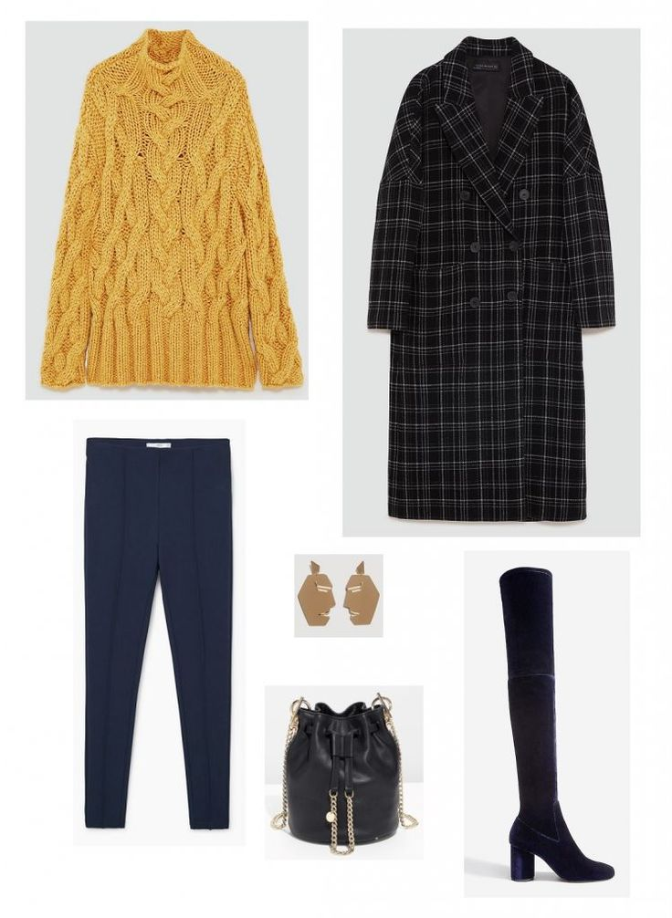 Time for Fashion » Consultas de Moda. Mustard knit sweater+navy leggins+black checked long coat+night blue velvet over the knee boots+black bucket bag+earrings. Winter Casual Outfit 2018