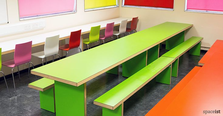 Long wall white canteen furniture for Swakeleys School canteen area.