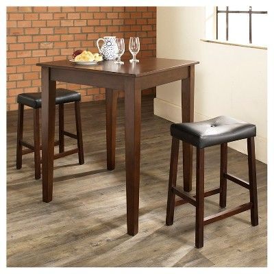 3 Piece Pub Dining Set with Tapered Leg and Upholstered Saddle Stools - Vintage Mahogany (Brown) Finish - Crosley