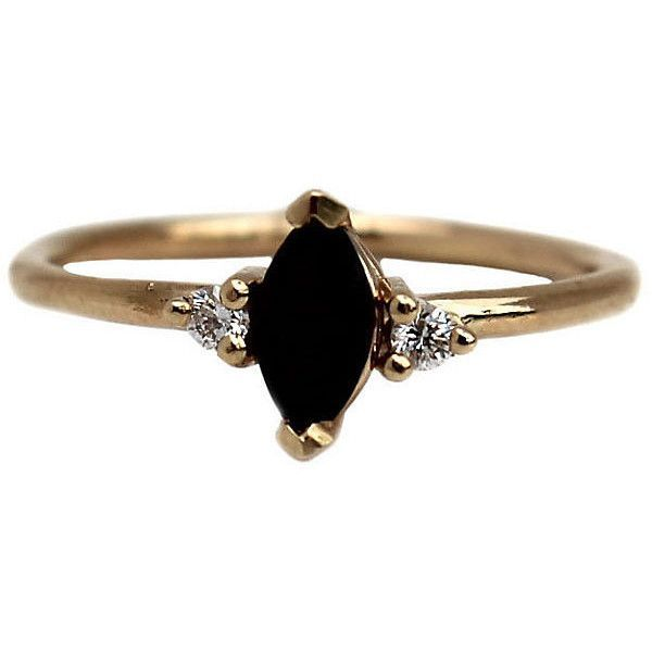 14K Onyx Marquis Ring w/ Diamonds Stone & Novelty Rings ($349) ❤ liked on Polyvore featuring jewelry, rings, accessories, onyx ring, black onyx diamond ring, 14 karat gold ring, onyx stone ring ve onyx stone jewelry