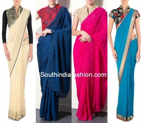 Plain Sarees are back in vogue and so are designer blouses. We show you twelve amazing ways in which you can pair up a plain saree with designer blouse...!