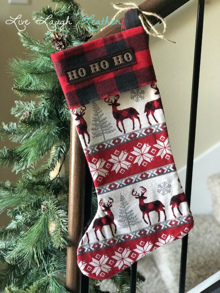 Customize your own set of Reindeer Stockings!! Use your names or get a set of generic phrases. Each stocking is handmade from scratch.