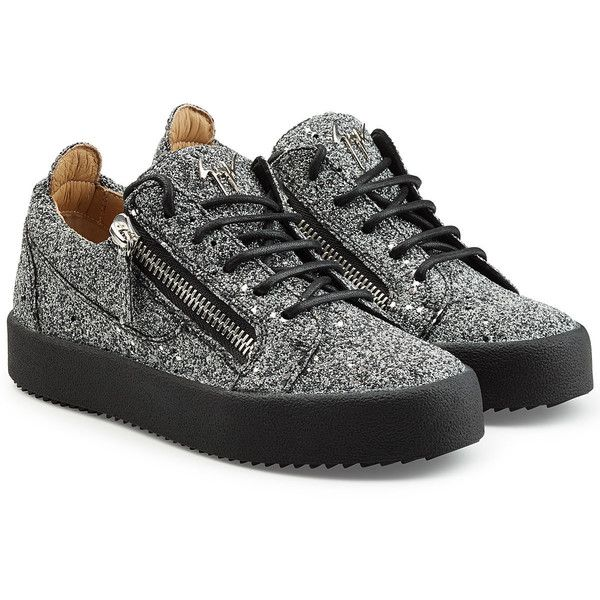 Giuseppe Zanotti Glitter Sneakers (£410) ❤ liked on Polyvore featuring shoes, sneakers, black, giuseppe zanotti sneakers, glitter shoes, chunky sneakers, anchor shoes and black glitter sneakers