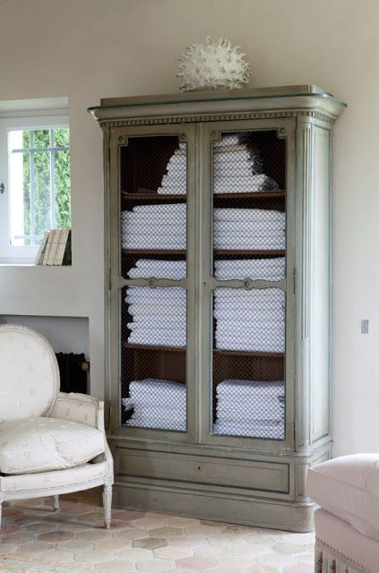 Armoire makeover chicken wire   beautiful recycle for any massage room