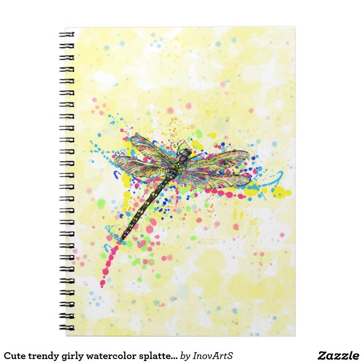 Cute trendy girly watercolor splatters dragonfly notebook...great design from InovArtS!
