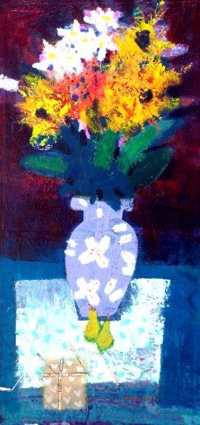 Francis Boag Heart and Flowers Mixed Media 24x12 | Scottish Contemporary Art