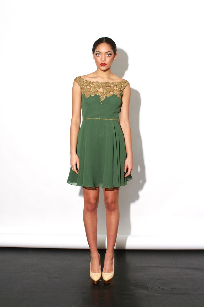 Leila dress green party dress with cut out gold beaded for Diy party dress