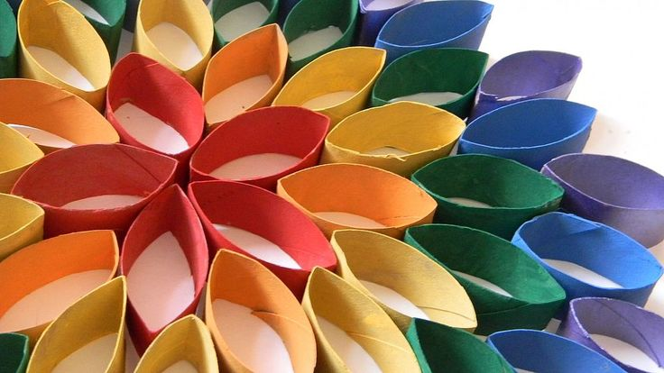 Hanging Rainbow Flower From Recycled Materials