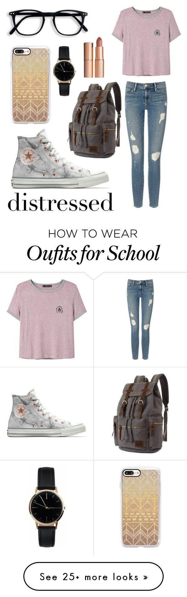 """""""Distressed"""" by adams-reagan-gca on Polyvore featuring Frame, MANGO, Converse, Casetify, Freedom To Exist and Charlotte Tilbury"""