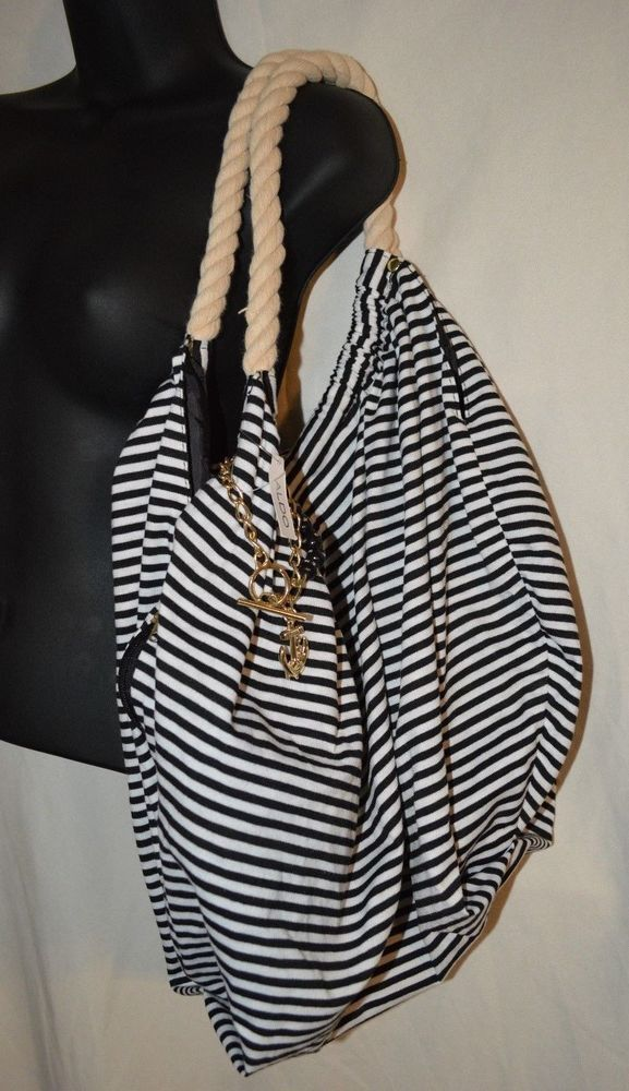 Aldo Nautical Shoulder Bag Purse Black White Rope Strap NWT Gold Charms Anchor #ALDO #ShoulderBag