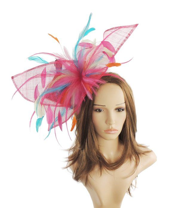 Viktoria Fuchsia Ivory and Turquoise Fascinator Hat for ... 6532db2dde7