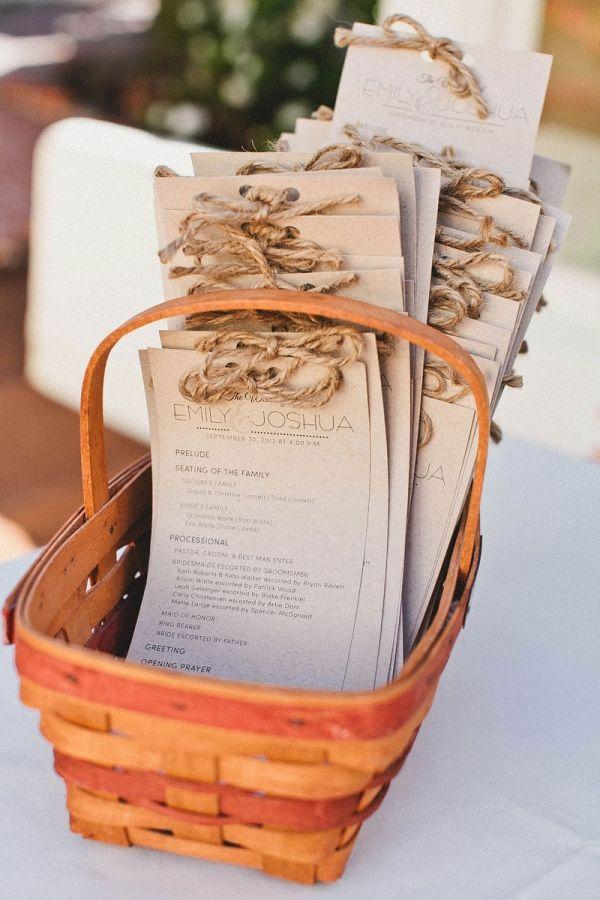 DIY rustic wedding programs