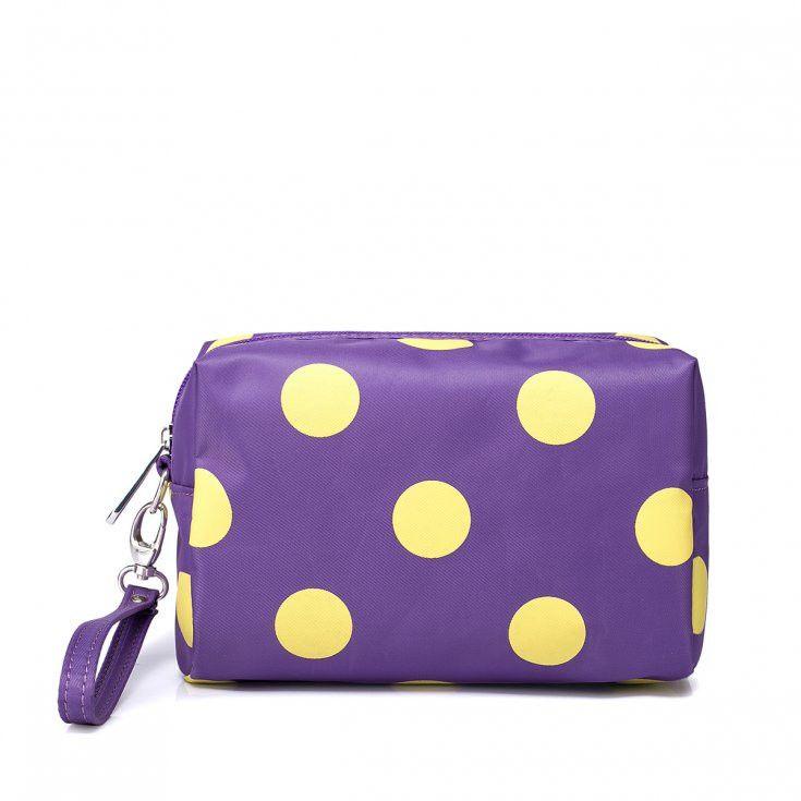 Purple Cosmetic Bag With Yellow Polka Dot