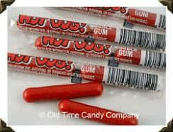 Hot Dogs.... cinnamon flavored candy. Got it at the corner grocery, penny candy selection.