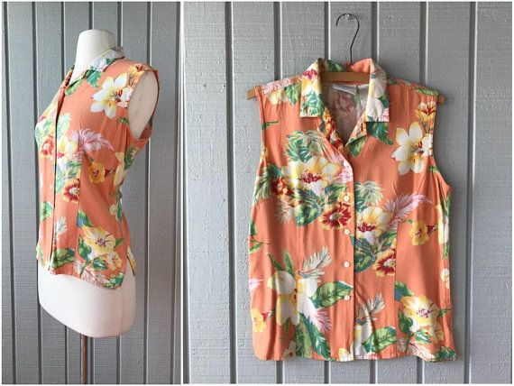 ec83800a9 1980s Liz Claiborne Tropical Print Button Front Blouse