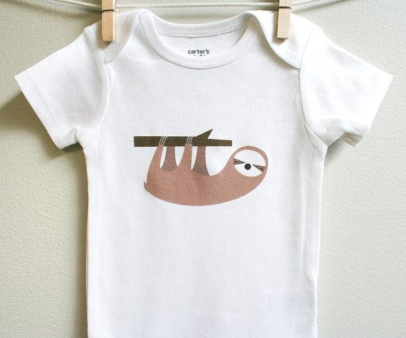 Baby clothes, baby boy or baby girl onesies, sloth, cute and adorable. Short or long sleeve. Your choice of size.. $13.00, via Etsy.