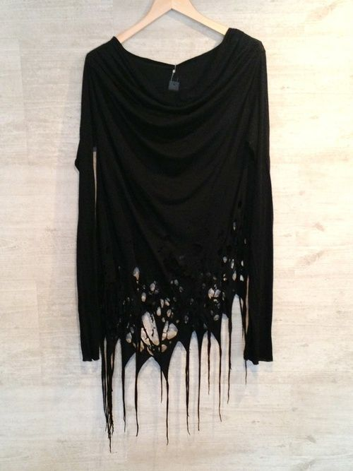 visual kei fashion | Tumblr Torn black long sleeve women's fashion apparel