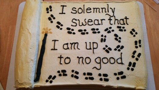My Harry Potter Marauder's Map cake for my son's 11th birthday!  Asked Cub Foods to make a parchment-looking cake, and I used Cake Mate black icing for the writing and footprints.