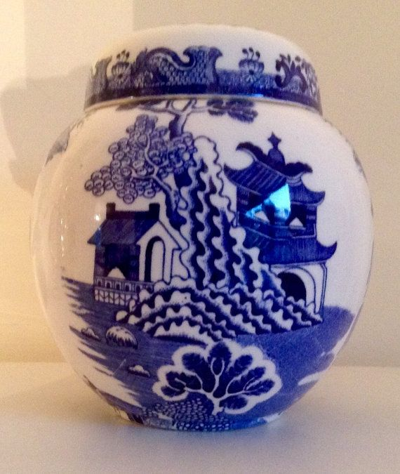Vintage Ironstone Gingert Jar by Masons  Blue by VintageUKSouth