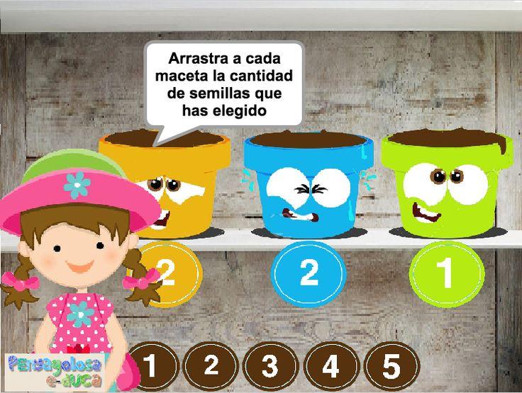 ABN – NUMEARCIÓN – NIVEL1 – Reparte las semillas entre las macetas (1-5) – En este juego se trabaja la descomposición de números de manera libre. Se trata de partir un número de semillas determinado de alguna forma posible. Se pueden repartir en partes iguales o en partes desiguales. Una vez repartidas, se ha de colocar, en cada maceta, las semillas pertinentes.
