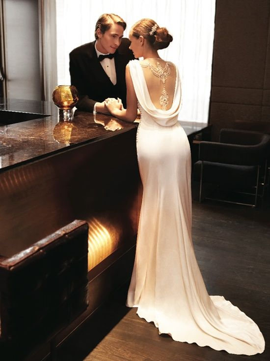 stunning draped backless wedding or vow renewal dress with lace detail. Simple and refined.
