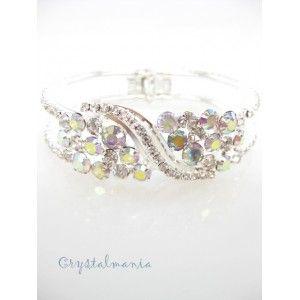 Pulsera con cristal en tono plateado y tornasol estilo 5541 - Crystalmania venta de bisuteria por mayoreo