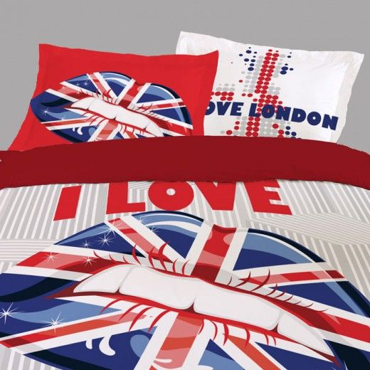HOUSSE DE COUETTE LONDON LOVE + 2 TAIES