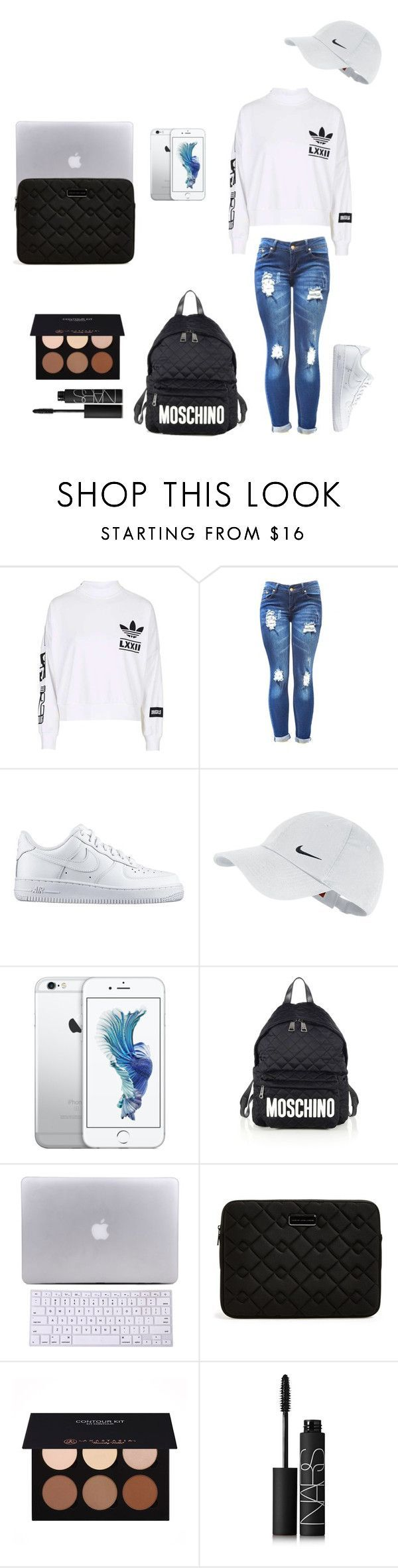 """""""Back to school #2 collab w/ @itsamandarose """" by itsfeliciarose ❤ liked on Polyvore featuring adidas, NIKE, Moschino, Marc by Marc Jacobs, Anastasia Beverly Hills and NARS Cosmetics"""