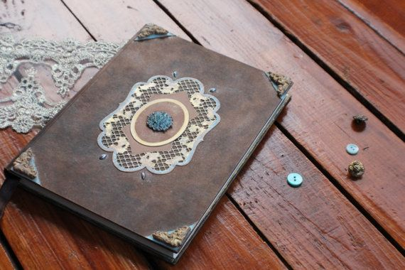 """NEW! Hand bound notebook, handmade journal, antique diary for things to treasure: """"New horizons"""" by Eleusa on Etsy"""