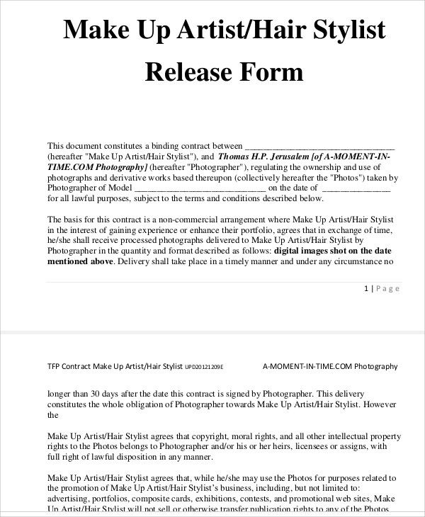 Sample Artist Release Form 9 Contract Template Freelance
