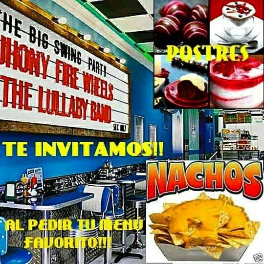 HITS BURGUERS DINER invita a POSTRE O NACHOS con tus menús favoritos Pizzas, Hamburguesas, Pollo Frito y Bagels en el mejor ambiente americano en Pto Mazarrón!!  Ofertas válidas de martes a jueves!!
