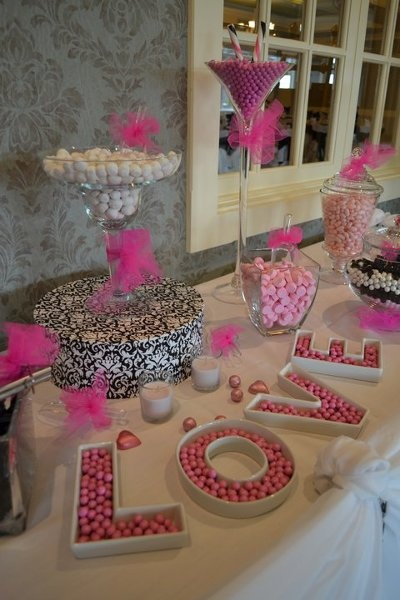 Love the 'LOVE' dishes!! #engagement party | Pink, White and Black colour scheme (look damask tooo)