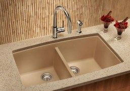 Composite sink in tan
