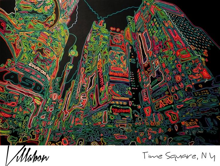 TIME SQUARE, NY  CARLOS VILLABON  ACRILICO SOBRE LIENZO  CURVISMO  1.80M X 1.20M  2012  http://www.lavilladebon.com