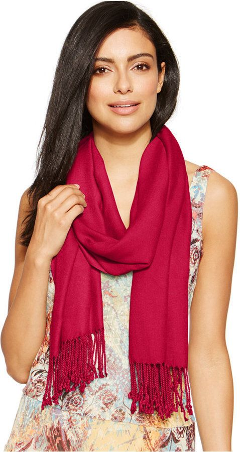 $24, Red Scarf: INC International Concepts Satin Pashmina Wrap. Sold by Macy's. Click for more info: https://lookastic.com/women/shop_items/312889/redirect