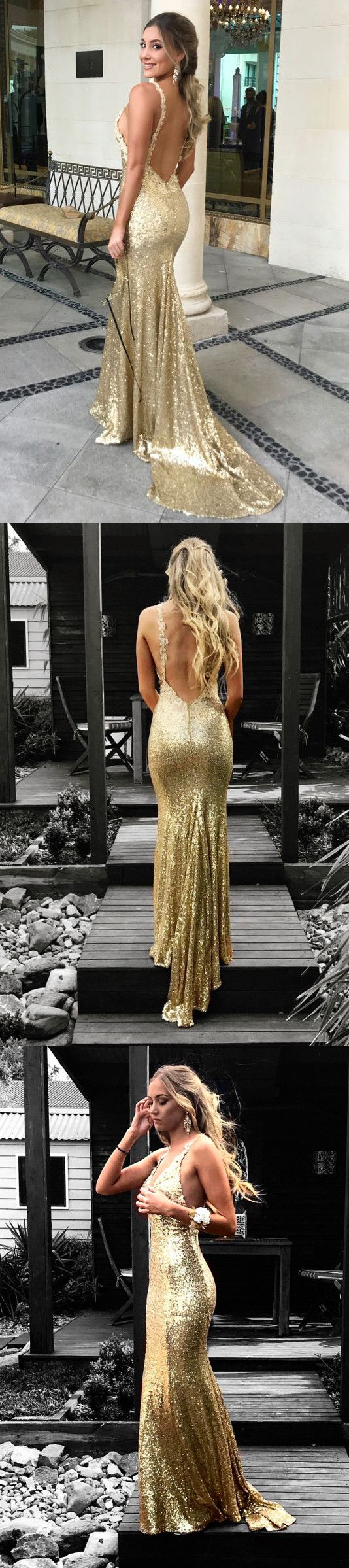 gorgeous champagne sequins long prom dress, 2018 mermaid long prom dress with open back, formal evening dress, party dress