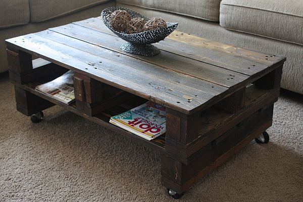 Coffee table out of shipping pallets