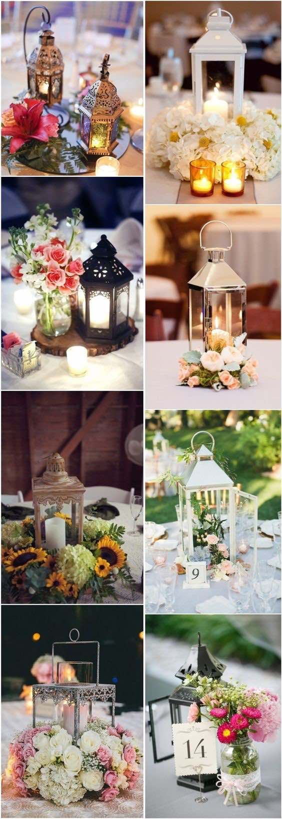 50 ideas de centros de mesa con faroles. Lantern wedding centerpieces.