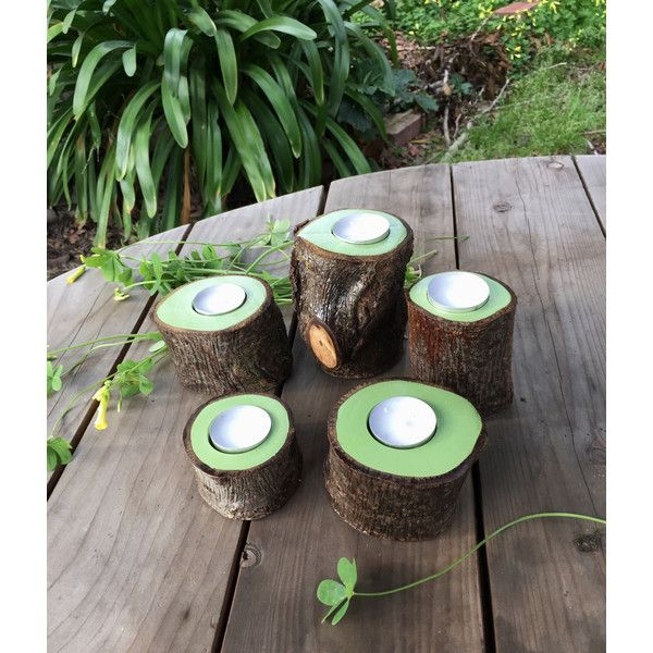 5 PC Tree Branch Candle Holders, Summer Greenery Decor, Reclaimed Tree... ($36) ❤ liked on Polyvore featuring home, home decor, candles & candleholders, led branches centerpieces, green candle holders, led candles, branch centerpieces and led tea light