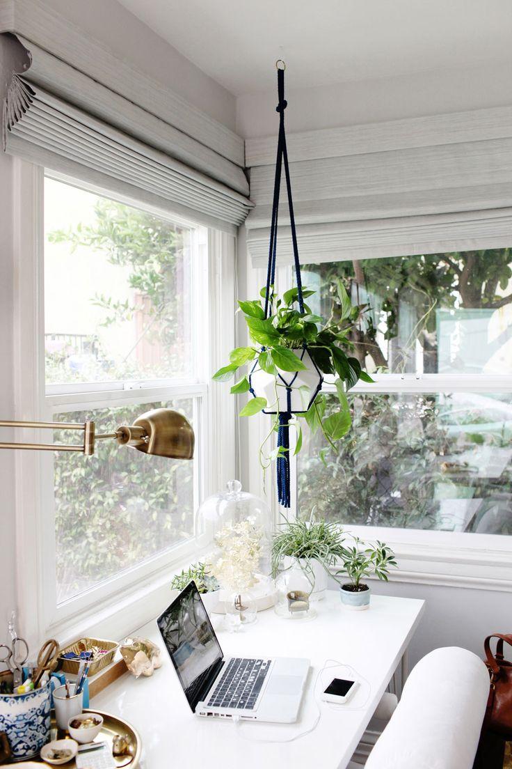 office tour of emily henderson white office plants natural light gold - Office Plants