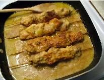 City Chicken. I grew up on City Chicken, and love it! For those who don't know, it is not chicken at all, but pork (sometimes veal) chunks on skewers. This recipe is pretty close to what I grew up making. Try it!