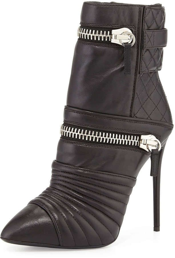 Giuseppe Zanotti Quilted Leather Double-Zip Boot, Nero #heels #shoes