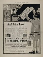 1915 Ad California Sun Maid Raisin Bread Girl Grocer - ORIGINAL ADVERTISING MIX3
