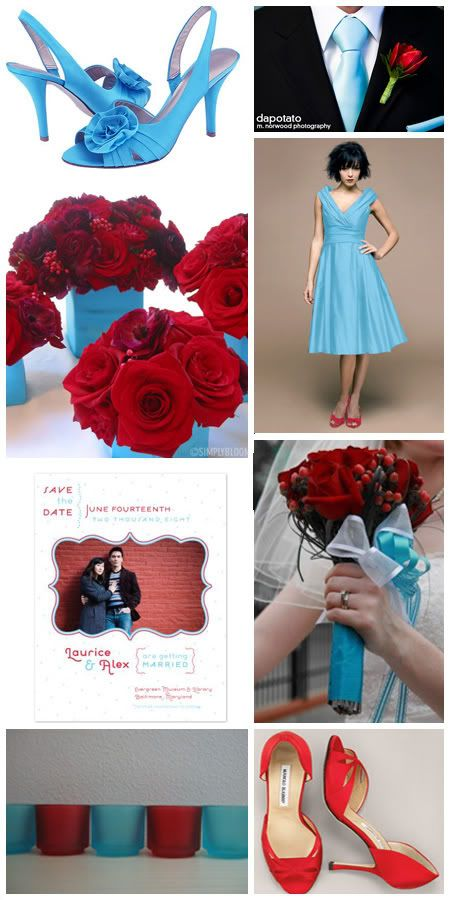 These are ideas for my 50s vintage inspired wedding in September. Colour theme - Light blue & red: Aqua And Red Wedding Ideas, Lights Blue And Red Wedding, Color Schemes, Red Shoes, Bold Color, Wedding Colors, Wedding Inspiration Boards, The Dresses, Blue Wedding