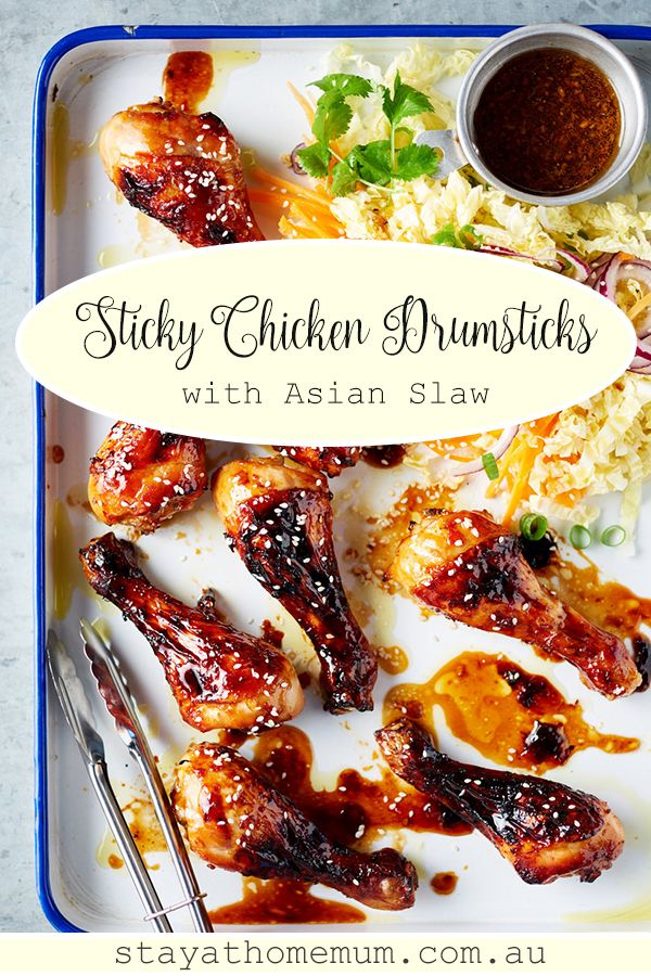 Chicken and some vegies always go together so good. This Sticky Chicken Drumsticks with Asian Slaw recipe is the perfect example. #recipes #chickenrecipes #chickenbreastrecipes