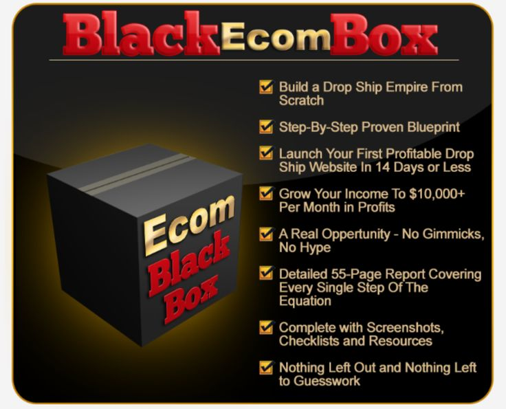 Ecom Black Box – Super Simple Drop Shipping System to Creates Hundreds thousands of Dollar. Ecom Black Box will show you how to get all the right products and buyers with a very 'Fast-Tracker' System. In fact they will love your products and literally beg you for more.