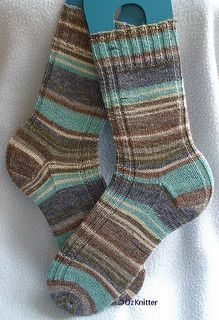 "A quick and versatile ""go to"" sock pattern that works for variegated, self-striping, semi-solid and solid sock yarn."