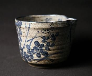 Antique blue-and-white kyo-yaki katakuchi (single mouth) vessel with skillfully painted hagi (bush clover) motif. Very Kyoto